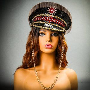 Festival Rave Burning Man Captain Hat Black Gold